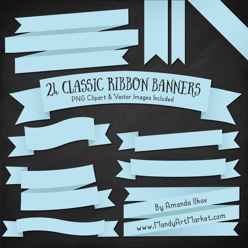 Soft Blue Ribbon Banner Clipart