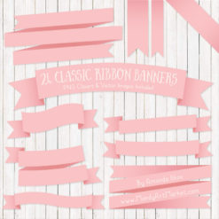 Soft Pink Ribbon Banner Clipart
