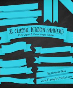 Tropical Blue Ribbon Banner Clipart
