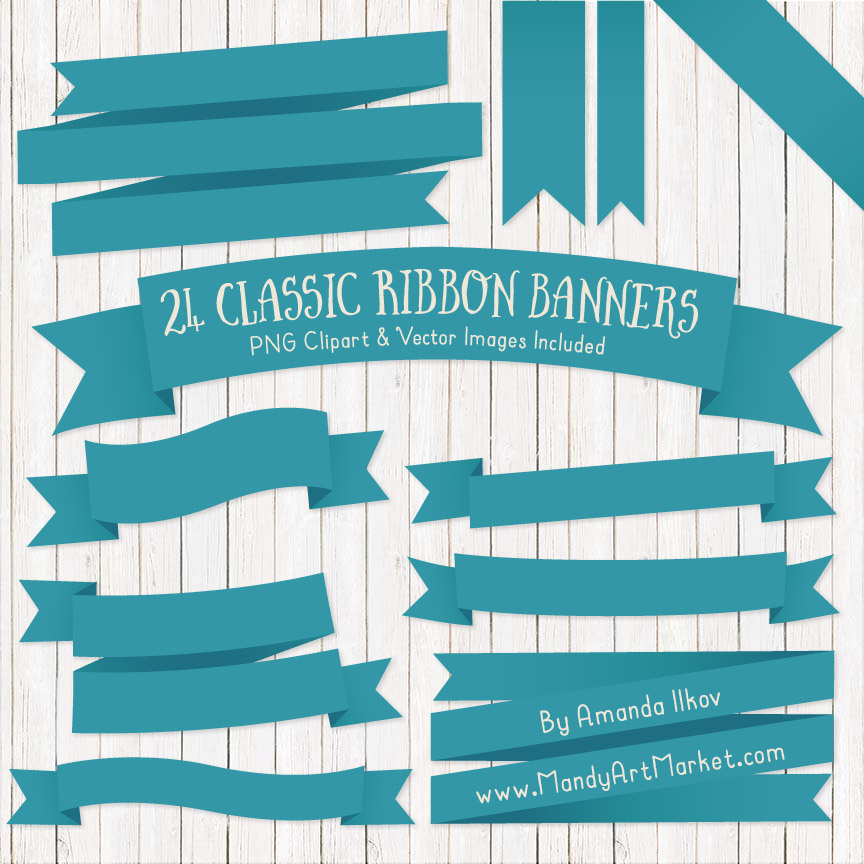 Vintage Blue Ribbon Banner Clipart