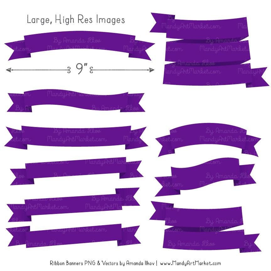 Violet Ribbon Banner Clipart