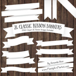White Ribbon Banner Clipart