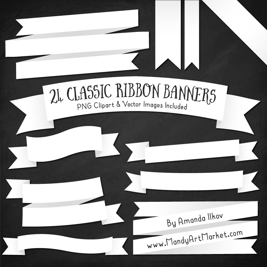 Attractive White Ribbon Banner Clipart YR52