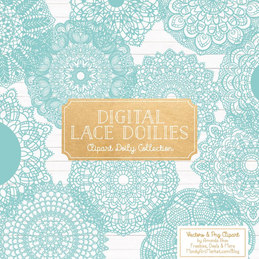 Aqua Lace Doily Vector Clipart