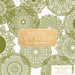 Avocado Lace Doily Vector Clipart