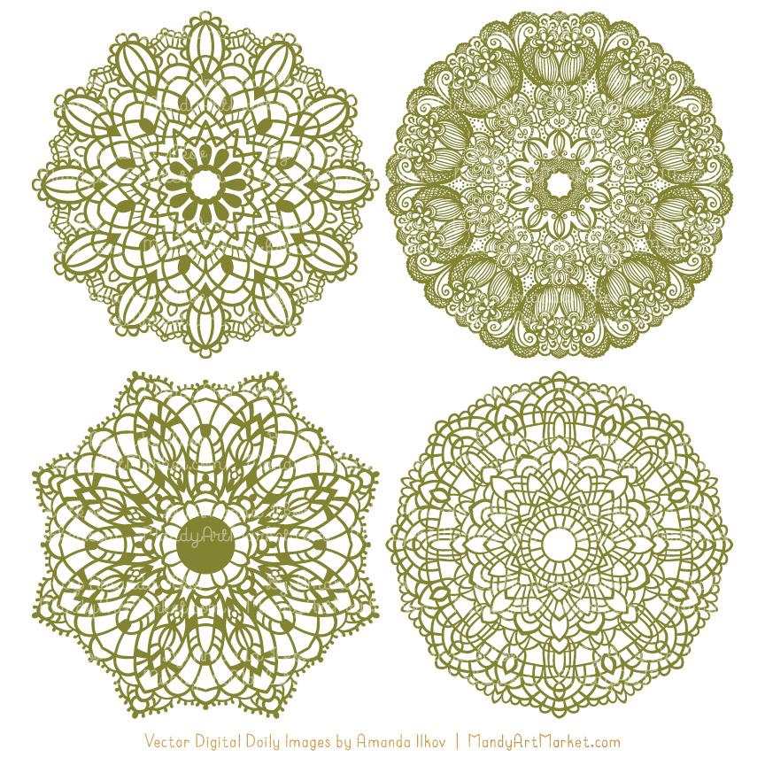 Avocado Lace Doily Vector Clipart