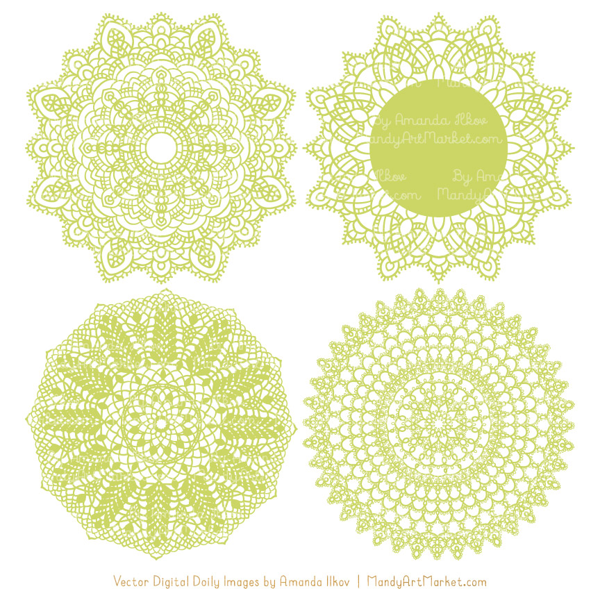 Bamboo Lace Doily Vector Clipart
