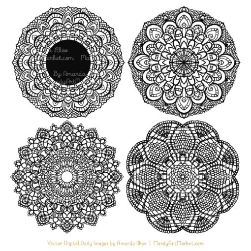 Black Lace Doily Vector Clipart