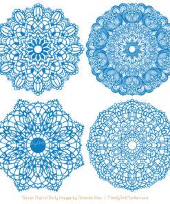 Blue Lace Doily Vector Clipart
