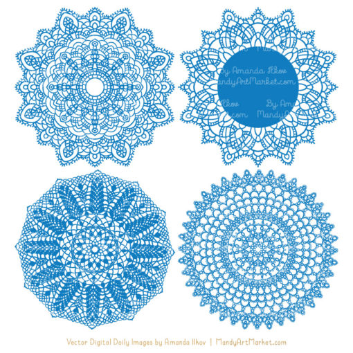 Blue Lace Doily Vector Clipart
