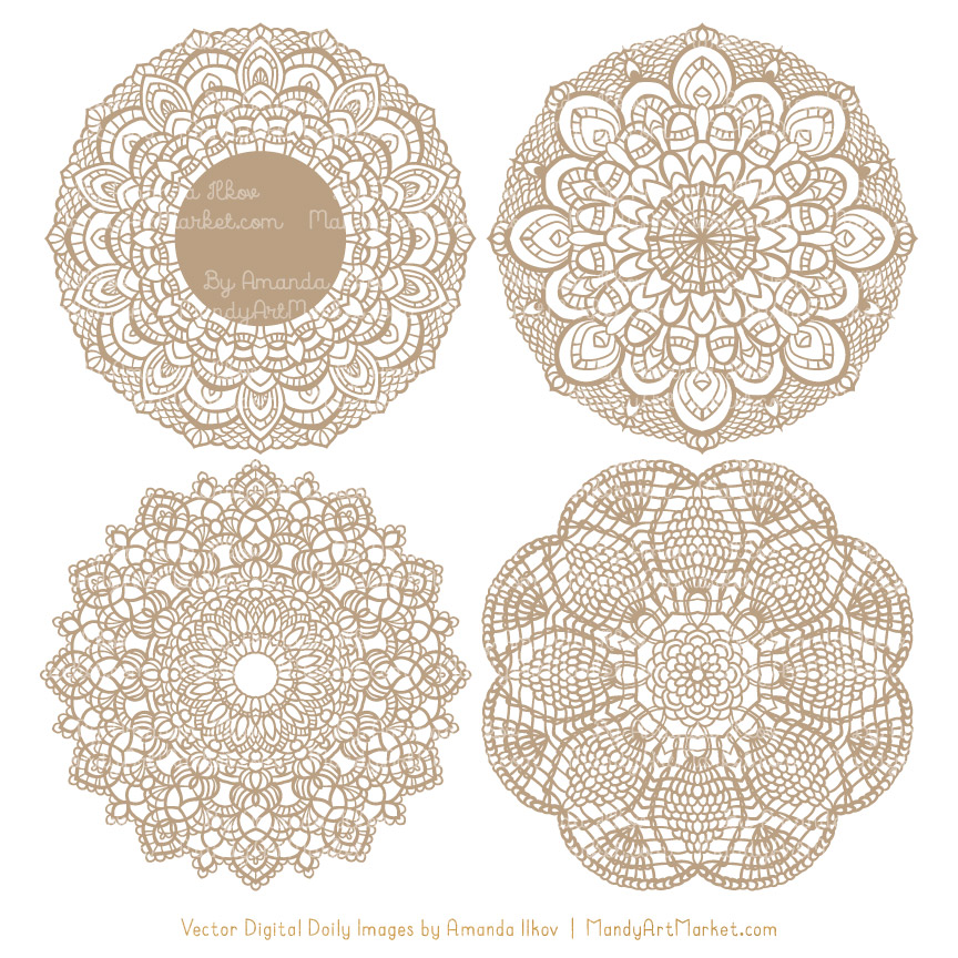 Champagne Lace Doily Vector Clipart
