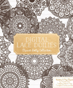 Chocolate Lace Doily Vector Clipart