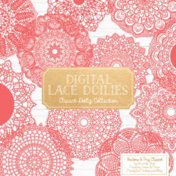 Coral Lace Doily Vector Clipart