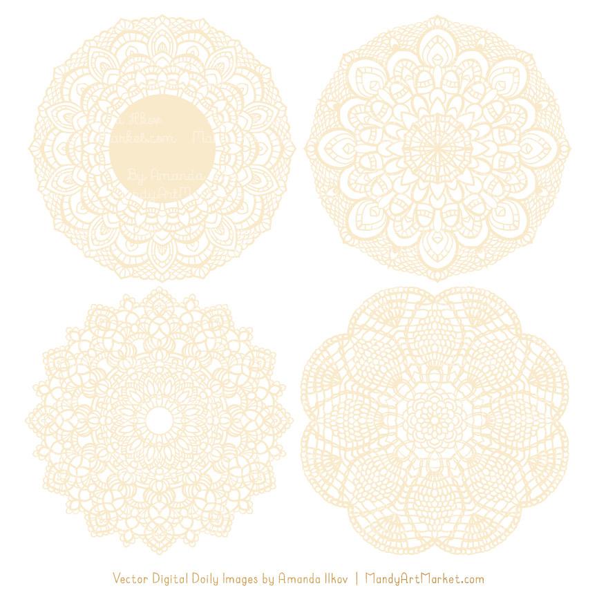 Cream Lace Doily Vector Clipart