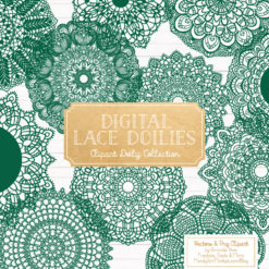 Emerald Lace Doily Vector Clipart