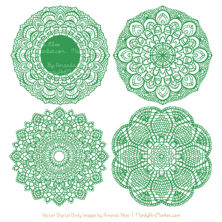 Green Lace Doily Vector Clipart