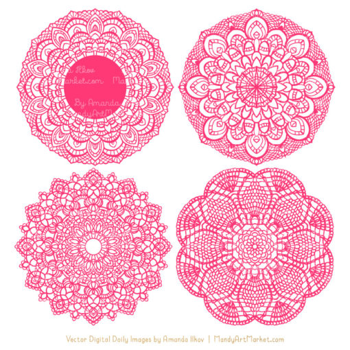 Hot Pink Lace Doily Vector Clipart