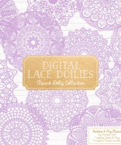 Lavender Lace Doily Vector Clipart