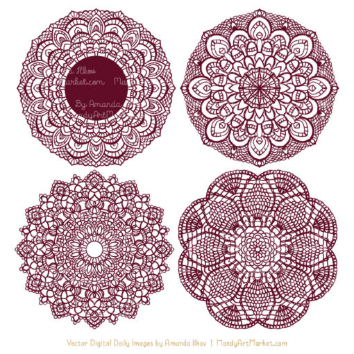 Merlot Lace Doily Vector Clipart