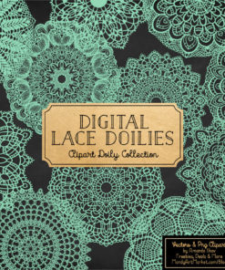 Mint Lace Doily Vector Clipart