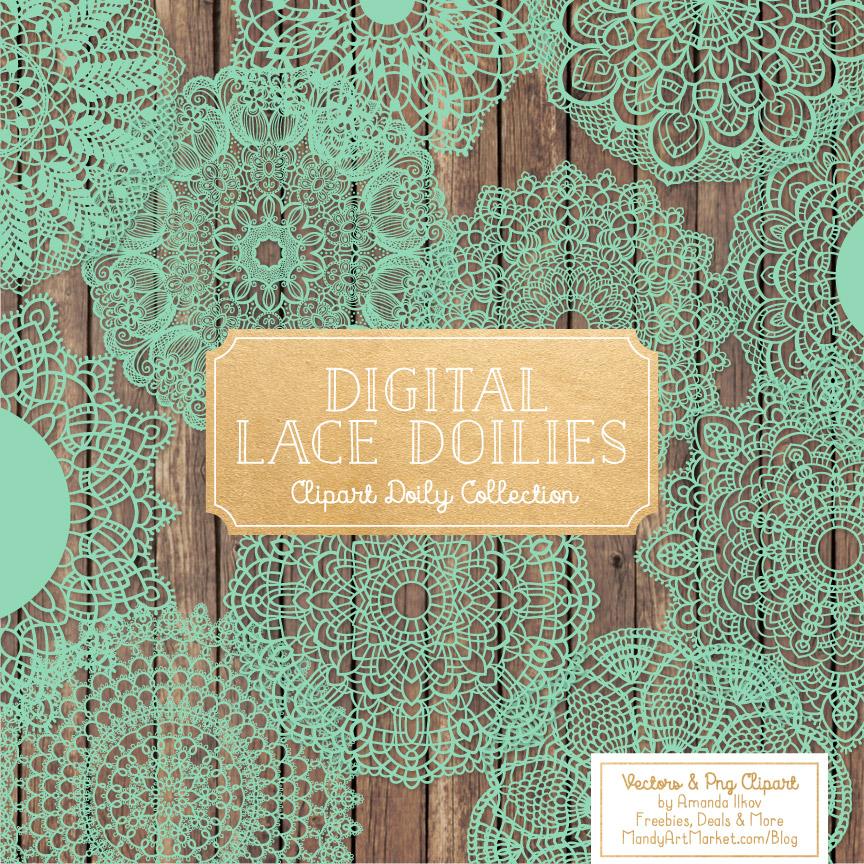 Mint Lace Doily Vector Clipart