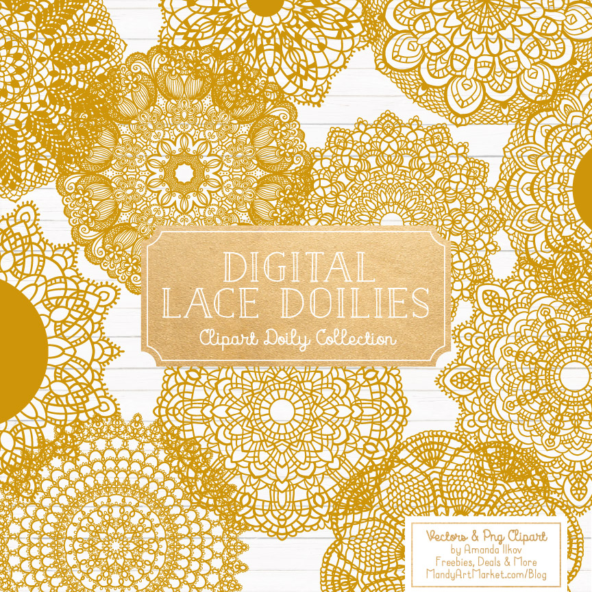 Mustard Lace Doily Vector Clipart
