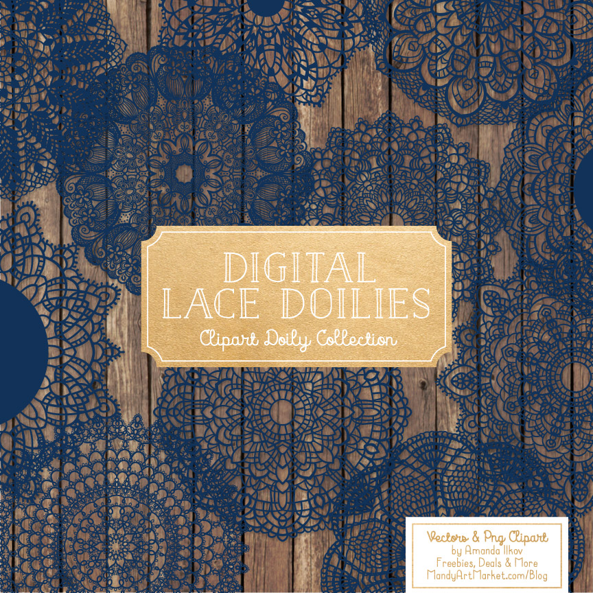 Navy Lace Doily Vector Clipart
