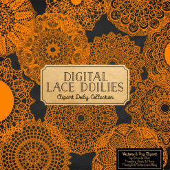 Orange Lace Doily Vector Clipart