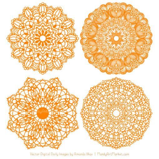 Orange Lace Doily Vector Clipart
