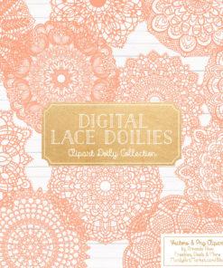 Peach Lace Doily Vector Clipart