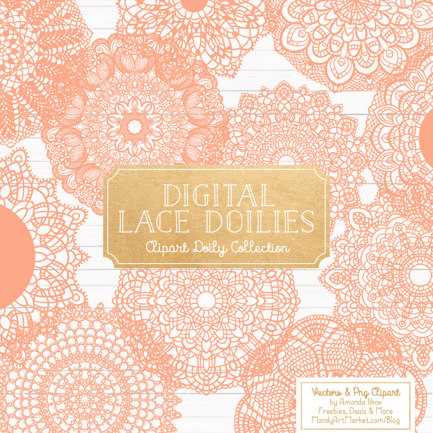 Peach Lace Doily Vector Clipart