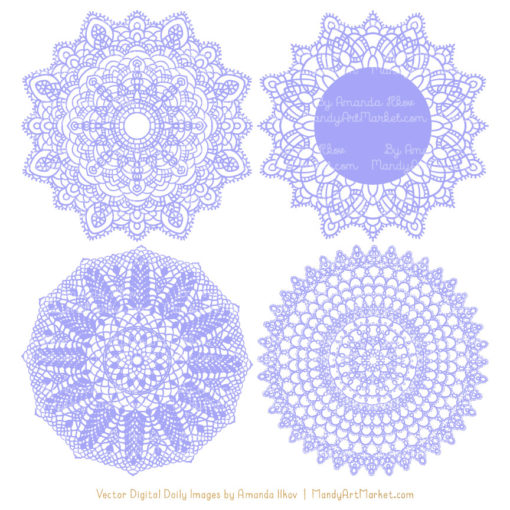 Periwinkle Lace Doily Vector Clipart