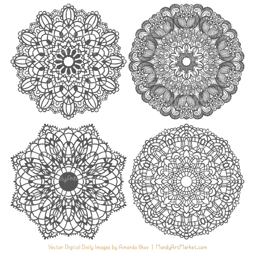 Pewter Lace Doily Vector Clipart