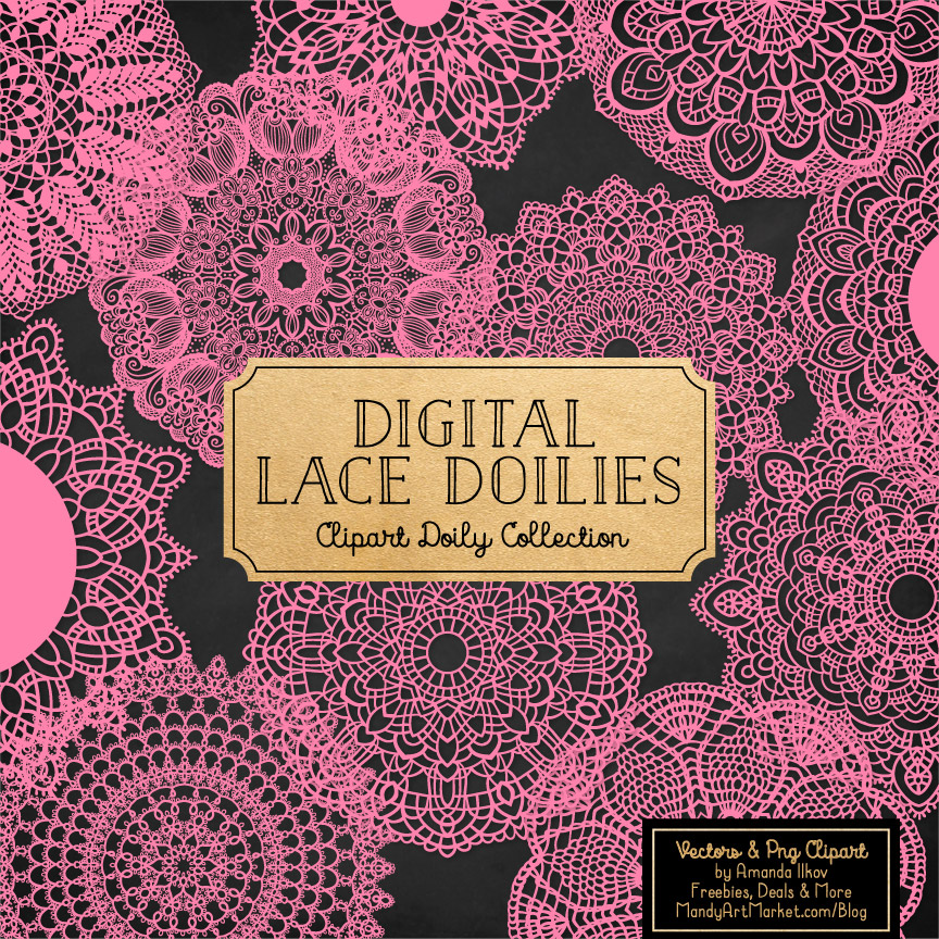 Pink Lace Doily Vector Clipart