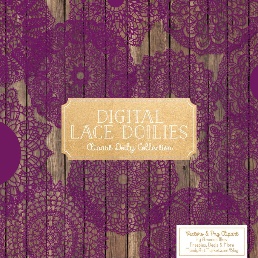 Plum Lace Doily Vector Clipart