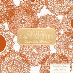 Pumpkin Lace Doily Vector Clipart