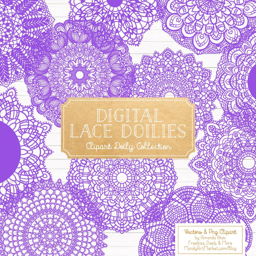 Purple Lace Doily Vector Clipart