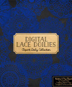 Royal Blue Lace Doily Vector Clipart