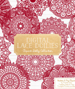 Ruby Lace Doily Vector Clipart