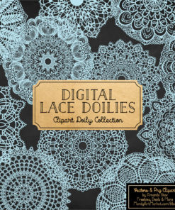 Soft Blue Lace Doily Vector Clipart