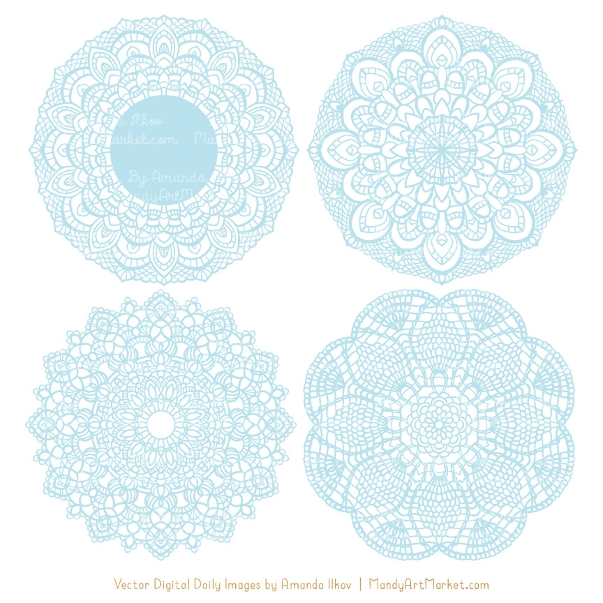 Soft Blue Lace Doily Vector Clipart