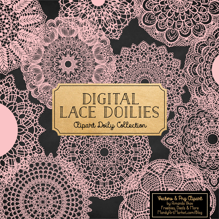 Soft Pink Lace Doily Vector Clipart