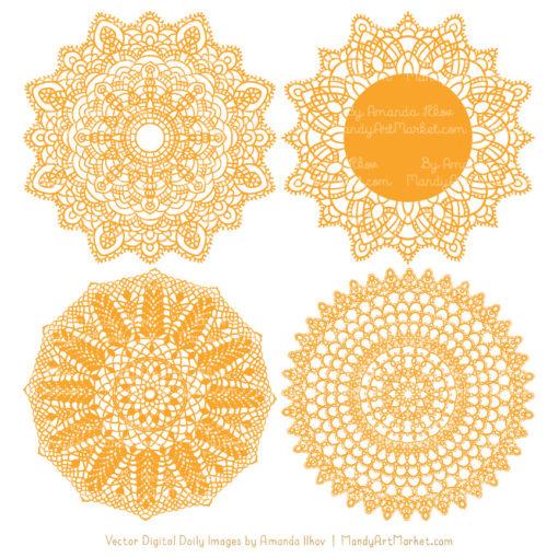 Sunshine Lace Doily Vector Clipart