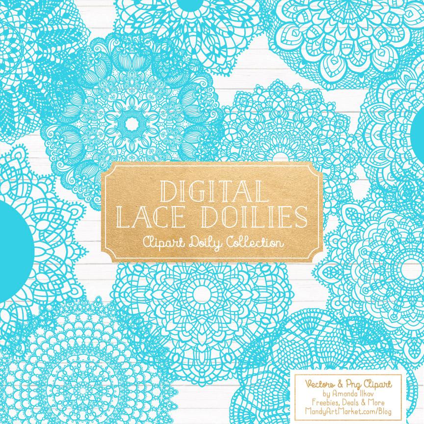 Tropical Blue Lace Doily Vector Clipart