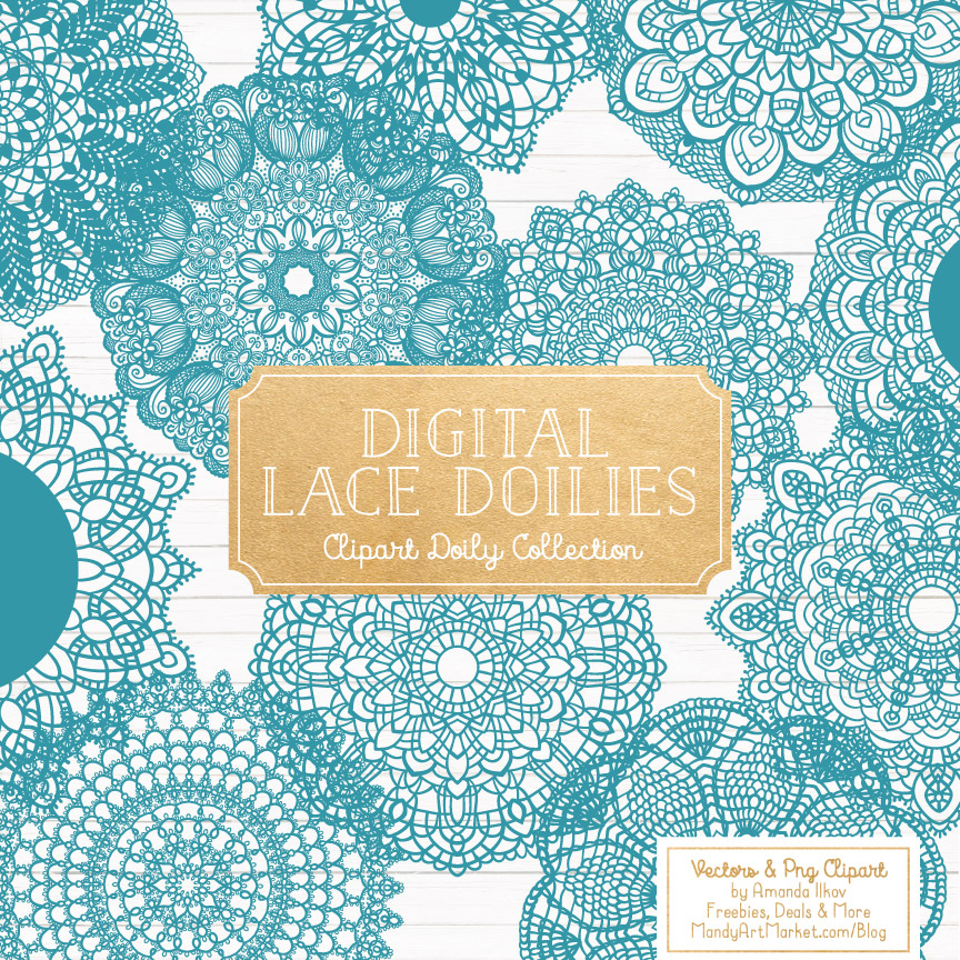 Vintage Blue Lace Doily Vector Clipart