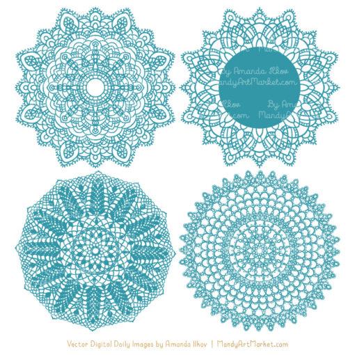 Vintage Blue Lace Doily Vector Clipart