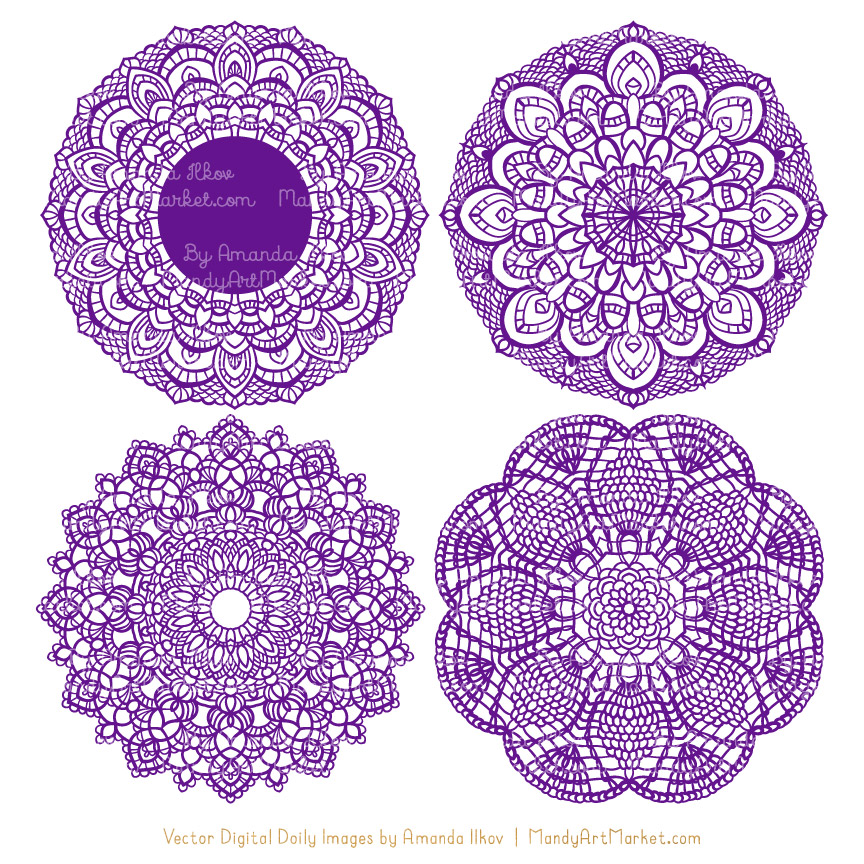 Violet Lace Doily Vector Clipart