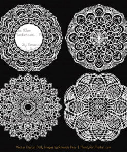 White Lace Doily Vector Clipart