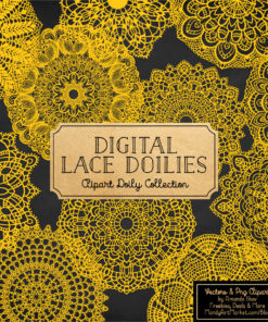 Yellow Lace Doily Vector Clipart