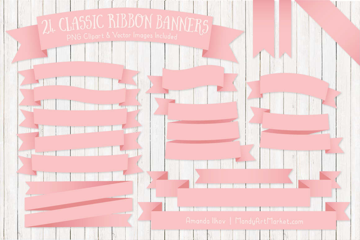 SoftPinkRibbonBanners package 5 - Ribbon Banner Clipart Added in 40 Colors